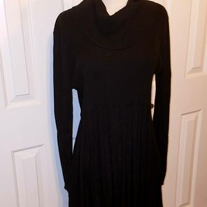 Calvin Klein XL black knit a-line womens dress